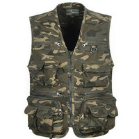 Men's Camo Military Hunting Fishing Vest with Pockets and Zipper