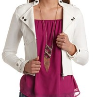 FRENCH TERRY ZIP-UP MOTO JACKET