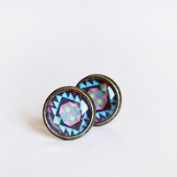 aztec stud earrings - tribal geometric jewelry  - blue