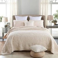 Soft Cotton Bed cover set White Beige Green Pink 3Pcs Bedding sets Queen Double size Quilted Bed spread Sheets Blanket Set