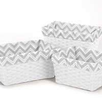 Sweet Jojo Designs Set of 3 One Size Fits Most Basket Liners for Chevron Zig Zag Bedding Sets