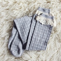 Sweetheart Lace Socks in Gray