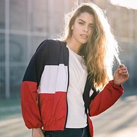 Sports Jacket Patchwork Stripes Hats Zippers Long Sleeve Casual Women's Fashion Tops Baseball Tops [11991620879]