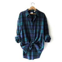 Vintage Plaid Flannel / Grunge Shirt / Boyfriend button up shirt / oversized shirt