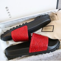 Gucci Trending Fashion men and women Stars Print Casual Sandal Slipper Shoes