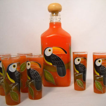 Hand Painted Orange Tequila Toucan Decanter and 6 Matching Shot Glasses Bareware