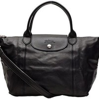 Longchamp Bags Longchamp 1512 737 001 Le Pliage Cuir Shoulder Bag Noir | Best Deal Online