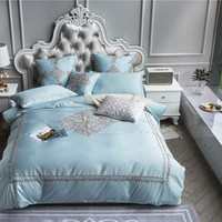4/7Pcs Queen King size Luxury Egyptian cotton Bedding Sets Embroidery Bohemia Grey Blue Cotton Duvet cover Bed sheets set