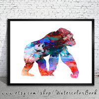 Gorilla 2 Watercolor Print, Fine Art Print,Children's Wall, animal watercolor, watercolor painting, Gorilla watercolor, Gorilla art, Gorilla