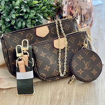 High-end LV Louis Vuitton women's three-piece shoulder bag messenger bag mahjong bag cosmetic bag key case
