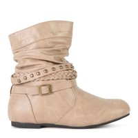 Short Flat Bootie with Buckled Straps Around Ankle
