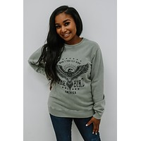Free Bird Graphic Sweatshirt - Light Sage