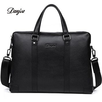 Men Business Briefcase Genuine Leather Handbag Shoulder Bag High Quality Computer Laptop Bag Totes