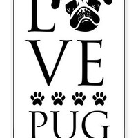 Love Pug Dog Direct Print (not a sticker) iPhone 4 Quality Hard Snap On Case for iPhone 4 4S 4G - AT&T Sprint Verizon - Black Frame