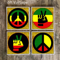 Rasta Peace Coasters, Set of 4, Reggae Peace Sign, Hand Peace Symbol, Love, Ceramic Tiles, Beer Coasters, Party Favors, Gifts, Made to Order