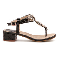 ROMWE Diamante Embellishment Buckled Black Kitten Sandals