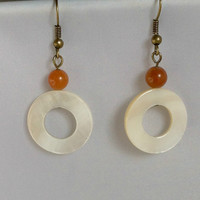 White Mother of Pearl Shell Ring Earrings with Orange Topaz and Brass