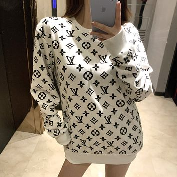 Louis Vuitton LV new long-sleeved round neck letter jacquard sweater