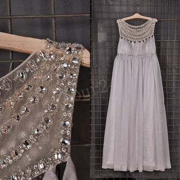 Light Gray big size Beaded Long Bridesmaid Dresses, Pregnant Prom Dress, Party Dresses,Evening Dresses,Wedding Party Dress, Bridesmaid Dress