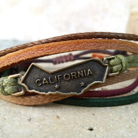 FREE SHIPPING-Bronze California Map Style Label Logo, Men, Woman Bracelet, Multi Color and Strands. Handmade, Country Jewelry, Unisex. 101