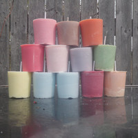 One dozen made to order soy votive candles, your color and scent choice!