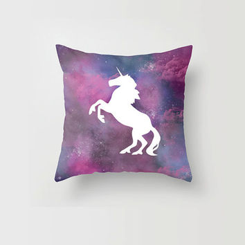 Throw Pillow Galaxy Unicorn Pink and Purple Stars Nebula Clouds Case Decorative Pillow Cover Made to Order 16x16 18x18 20x20 Home Decor