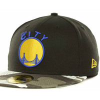 Golden State Warriors NBA Hardwood Classics Fighter Camo Fitted 59FIFTY Cap