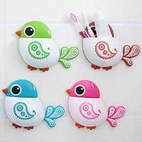 New Creative Bird Pattern Suction Cup Toothbrush Holder House Storage Tool = 1705567684