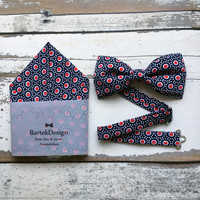Bow Tie & Pocket Handkerchief by BartekDesign: set navy blue red white dots pocket square wedding grooms gift proms