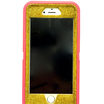 iPhone 6 (4.7 inch) OtterBox Defender Series Case Glitter Cute Sparkly Bling Defender Series Custom Case  Deep pink / yellow gold