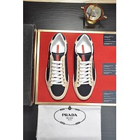 prada men fashion boots fashionable casual leather breathable sneakers running shoes 209