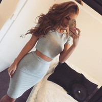Gray Cotton Two Piece Dress 12647