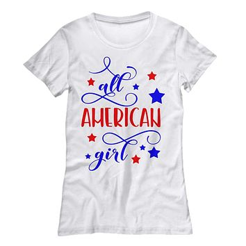 Fourth of July All American Girl Fitted Shirt