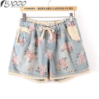 M L XXL XXXL Summer New Women Oversized Print Denim Shorts1013