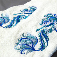 Mermaid Hand Towels- Mermaid Art- Beach Mermaid Embroidery- Mermaid Decor- Embroidered Bath Towel- Mermaid Kitchen Towel- Bathroom Decor
