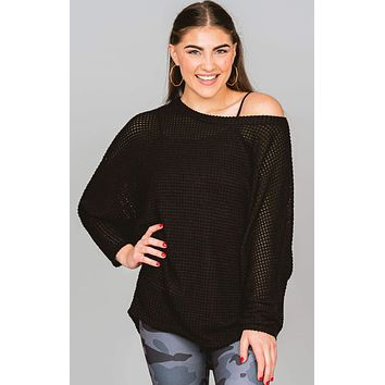 Over Sized Waffle Knit Top