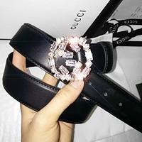 GUCCI New fashion diamond letter buckle couple belt Black