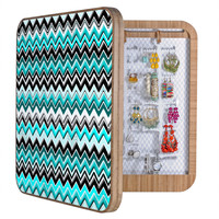 Madart Inc. Turquoise Black White Chevron BlingBox