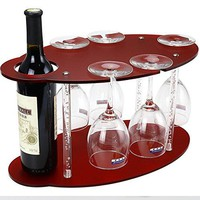 Tabletop Wine Glass Holder, Frosted Acrylic Wine Racks free-standing, Wine and Glass Rack - Small Wine Racks Counter-top Display 1 Wine bottle+5 Glass(Modern Idea for Parties/Bar)