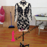 Douce Stand Collar Applique Black Lace See Through Short Homecoming Dress Sheer Long Sleeve Party Dress Illusion Lace Cocktail Dresses