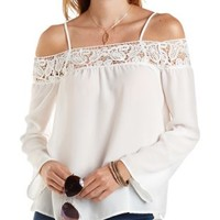 Crochet-Trim Cold Shoulder Swing Top by Charlotte Russe