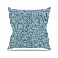 "Maike Thoma ""Layered Circles Design"" Blue Floral Outdoor Throw Pillow"