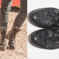 90s Distressed Leather Justin Roper Fringe Boots | Mens 6.5 or Womens 8 Cowboy Boots Western Style Combat Boots | Black Biker Grunge Boots