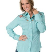 Wrangler® Women's Light Turquoise with Floral Embroidered Yokes Long Sleeve Retro Western Shirt