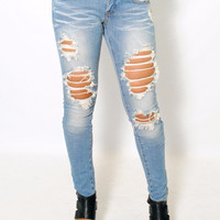 (amb) Medium stone wash distressed skinny jeans