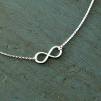 Sterling Silver Infinity Necklace Simple Minimalist Jewelry Designer Inspired Bridesmaid jewelry