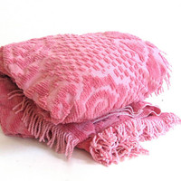 Vintage pink Floral Chenille Bedspread / double full size