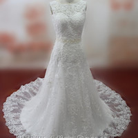 Real Pictures Empire Lace Wedding Dresses Lace-up Wedding Gowns Jewel Neckline Bridal Gowns Plus Size Bridal Dress