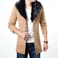 Mens Winter Wool Coat with Attached Fur Collar