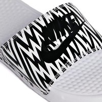 Nike Benassi White Printed Sliders